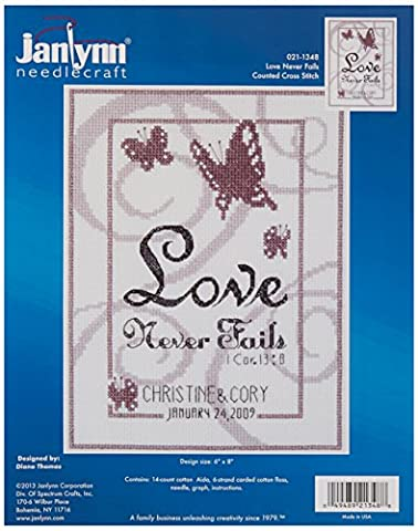 Janlynn 14 Count Love Never Fails Counted Cross Stitch Kit, 6 by 8-Inch