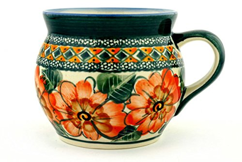 Polish Pottery Bubble Mug 16 oz Peach Poppies UNIKAT (Polish Large Mug Pottery)