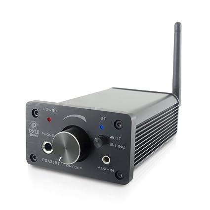 Pyle PDA35BT 100 Watt Mini Bluetooth Power Digital Class D Amplifier &  Headphone Amplifier with Two Aux Inputs - 2 Channel Stereo Output -  Portable
