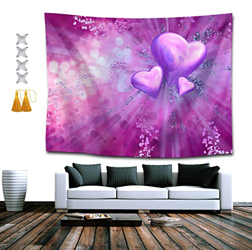 (SUNH0ME Purple Heart Tie Dye Tapestry, Boho Wall Tapestry Wall Hanging Tapestry - Dorm Indian Decorations Retro Art for Living Room Bedroom Dorm Room)