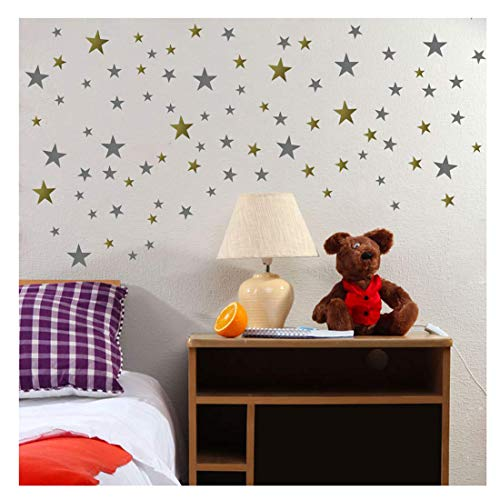 DCTOP Stars Wall Decals (248 Decals) Wall Stickers Removable Home Decoration Easy to Peel Stick Painted Walls Metallic Vinyl Polka Wall Decor Sticker for Baby Kids Nursery Bedroom (Gold&Silver Stars) ()