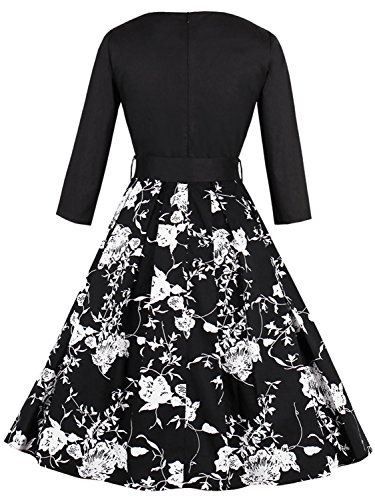 Floral Sleeve Gown Dresses Floral Black Half Party Rockabilly 1950s Women Fs1895 Vintage Babyonline X1qSwaRa