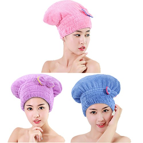 Wet Hair Dry/Drying Cap Towel Purple Turban Wrap Quick Dry Ultra Absorbent Bath Spa Head Hat for kids and Women short Hair3 Pack ByJUMUU (short-Blue/Pink/Purple)