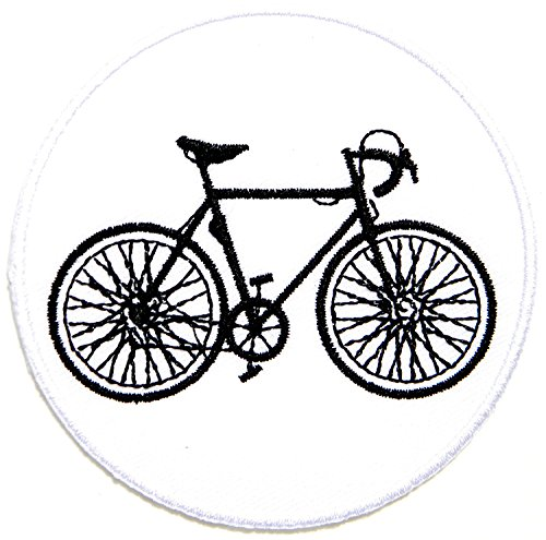 HHO Bicycle Mountain Road Bike(white) Patch Embroidered DIY Patches, Cute Applique Sew Iron on Kids Craft Patch for Bags Jackets Jeans Clothes