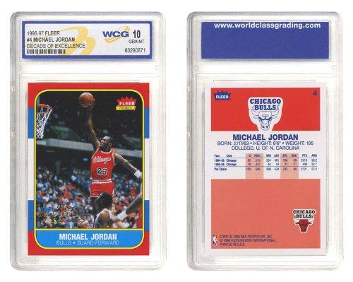 97 Rookie Card (1996-97 MICHAEL JORDAN FLEER DECADE OF EXCELLENCE ROOKIE CARD #4)