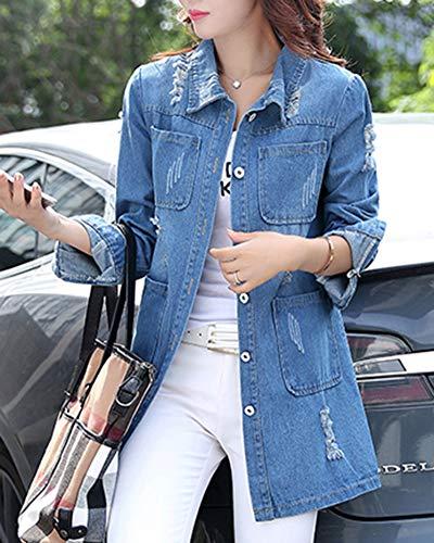 longues femmes pour jean à bleu en en Veste denim Slim courte Fit manches qFzIR