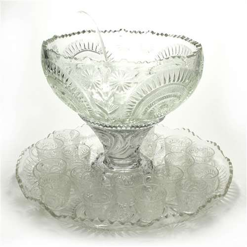 - Pinwheel & Stars by Smith Glass Co, Glass Punch Bowl