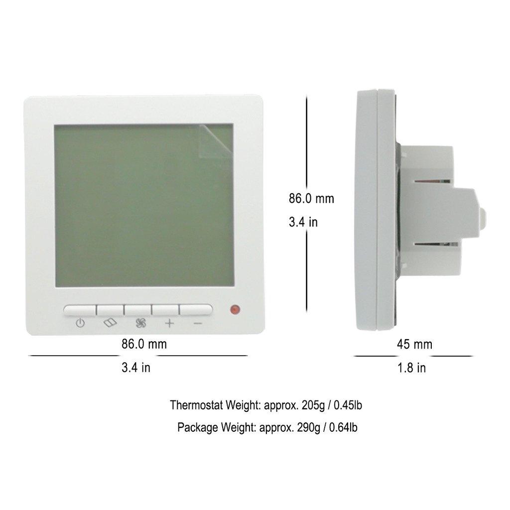 beok tol63r-ac central aire acondicionado LCD termostato con temporizador diario, programación semanal Ventilador Bobina FCU controlador de temperatura, ...
