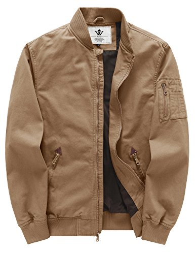 WenVen Men's Fall Cotton Casual Bomber Jacket(Khaki,X-Large) by WenVen