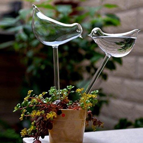 Iuhan  2 Packs Automatic Plant Waterer, Self Watering Globes Aqua Bulbs Hand-Blown Mini Glass Automatic Plant Waterer Bird Butterfly Decorative Design (2Pcs Birds)