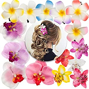 Hairstyling Hair Styling Accessories Set Kit of 15pcs Artificial Fake False Plumerias and Orchids Flowers Decorations Decorative Pins Clips Slides 31