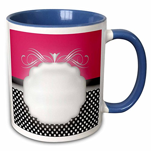 3dRose Bev Newcomer Florals and Swirls - Elegant Pink with Black and white Polka Dot - 15oz Two-Tone Blue Mug (mug_113839_11)