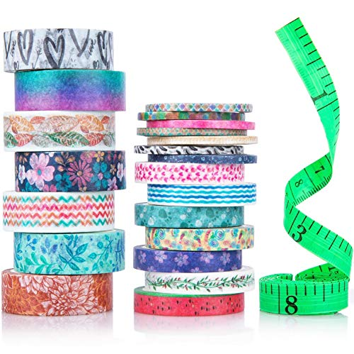 Cute Washi Tape Set with 3 sizes | 15mm 8mm and 3mm Wide Skinny and Thin | Decorative Holiday Craft Tape | Colorful Tape | Floral Japanese Pastel Seasonal Art | Bujo Supplies | Scrapbook Tape 21 Rolls -