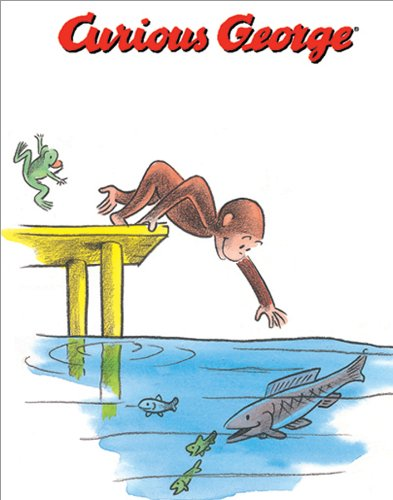 (Curious George Monkey Reaching for Fish Childrens Literary Decorative Rare Vintage Original Closeout Stock Poster Print 11x14)
