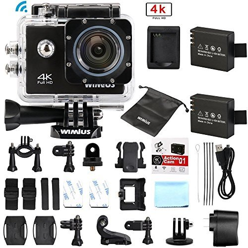 Amazon #LightningDeal 68% claimed: WiMiUS Action Camera 4K Wifi 16MP 2.0 inch Waterproof Sports Video Camera Car Helmet Camcorder Include 2pcs Batteries with Accessories Kits(Q1) (Black)