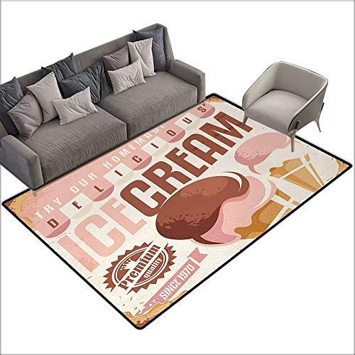(Ice Cream Decorative Floor mat Pop Art Style Nostalgic Homemade Ice Cream Emblem Graphic Print 70