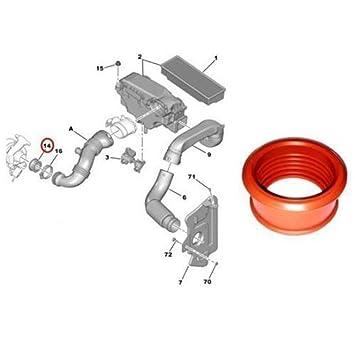 Gugutogo Turbo Tubo de Aire Manguito para Peugeot 206 207 307 308 407 1.6 HDI Socio DE Expertos: Amazon.es: Coche y moto