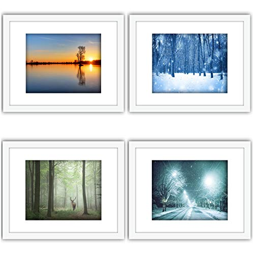 (SmartWallStation 4Pcs 11x14 Tempered Glass Wood Frame White, with 3X Mat Fit for 8x10 5x7 4x6 inch Family Photo Picture, Desktop On Wall Vertical Horizontal Support Office Decoration (33-36))