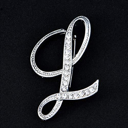 - 27C1 Womens Lady Rhinestone Crystal Letters Wedding Jewelry Bouquet Brooch Pin | Pattern - L