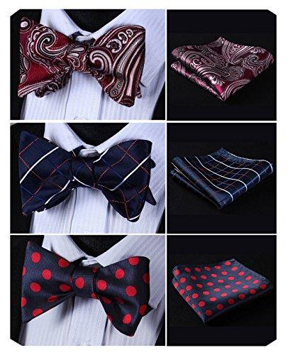 HISDERN 3pcs Mixed Design Classic Men's Self-Tie Bow tie & Pocket Square - Multiple Sets (Silk Tie Bow Design)