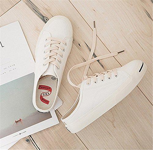 Chaussures Sport Blanc Baskets Mode Casual Toile Femme De ZXZtHq7x