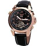 JARAGAR Men Tourbillon Automatic Mechanical Watch Leather Strap Day & Date Display Golden Rotational Bezel + BOX