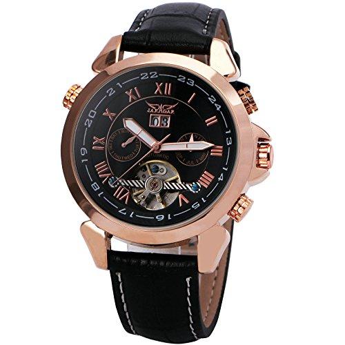 WINNER Men's Black Leather Strap Watch 001 - 2