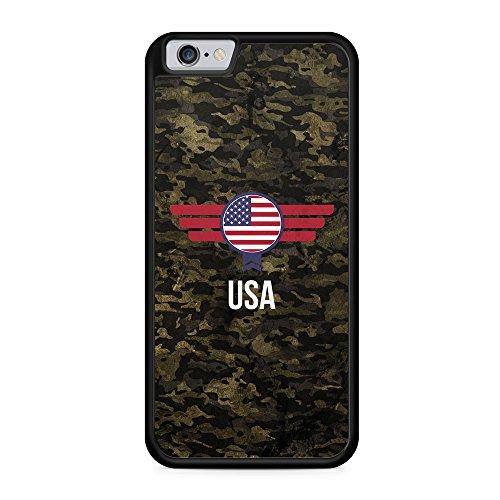 USA Amerika Camouflage mit Schriftzug - Hülle für iPhone 6 & 6s SILIKON Handyhülle Case Cover Schutzhülle - America Flagge Flag Military Militär