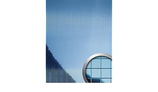 Panel decorativo autoadhesivo flexible mosaico cuadrado WallFace 10603 M-Style M con efecto espejo azul hielo 0,96 m2: Amazon.es: Bricolaje y herramientas
