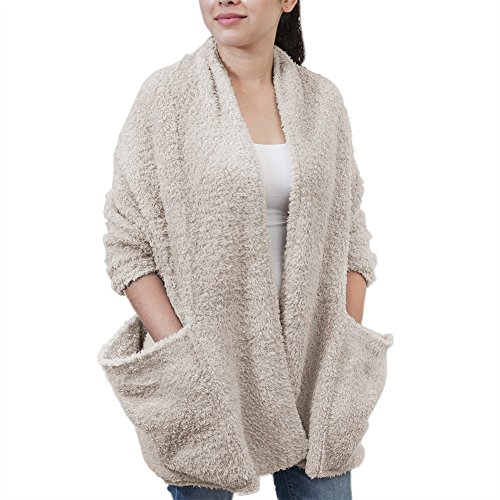 Barefoot Dreams CozyChic Travel Shawl - Stone, One Size Fits All by Barefoot Dreams