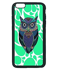 Mint Paisley Owl ~ iPhone 6 Plus Rubber Tpu Case ~ Silicone Patterned Protective Skin Rubber Case Cover for Apple iPhone 6 Plus with 5.5 inch - Haxlly Designs- Black Case