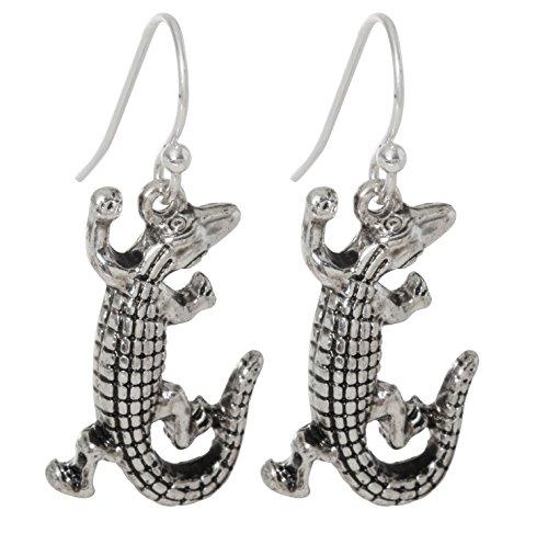 Silver Tone Alligator Dangling Fish Hook Earrings ()