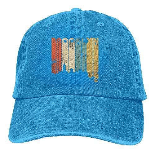 Cap Denim Headgear (Unisex Brooklyn New York Skyline Denim Dad Cap Baseball Hat Adjustable Sun Cap Headgear One Size)