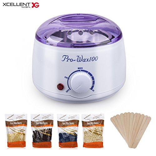 Xcellent Global Wax Warmer Heater Hair Removal Kit Waxing Kit Wax Melts Machine With 4 Different Flavors Hard Wax Beans+12 Wax Applicator Sticks BT041