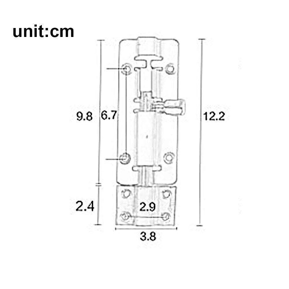 4/Pulgadas en Acero Inoxidable Barrel Cerradura /épaissie pestillo para Puerta corredera Robuste para Barrel Bolt Puertas Ventanas de Seguridad Cobre Rojo