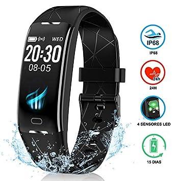 NAIXUES Pulsera Actividad Inteligente GPS, Pulsera Deportiva IP68, 7 Modos Deportes, Monitor Cardiaco