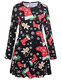 Ruiyige Women Girl Women's Christmas Santa Claus Print Pullover Flared A Line Dress