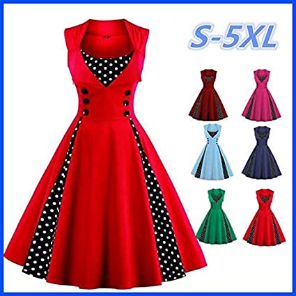 678ba8cd50877 Image Unavailable. Image not available for. Color: rackerose Fashion Women  Robe Pin Up Dress Retro Vintage 50s 60s Rockabilly Dot Swing Summer Female