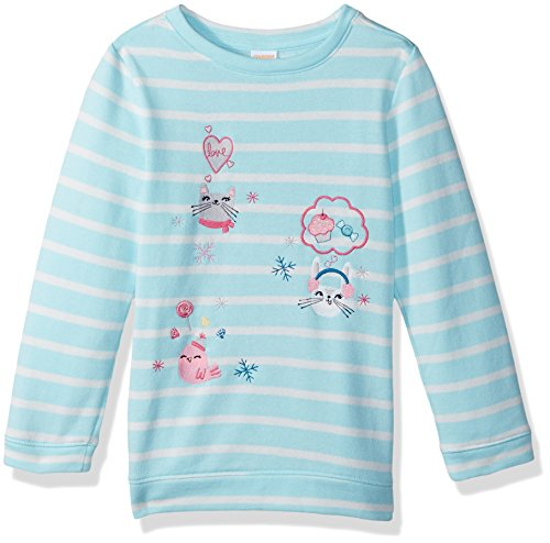 Gymboree Girls' Toddler Long Sleeve Winter Pullover, Sparkling Water, 3T -