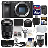 Sony Alpha A6500 4K Wi-Fi Digital Camera Body with 18-105mm f/4 Lens + 64GB Card + Case + Flash + Battery & Charger + Tripod + Filters Kit