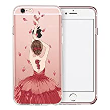 iPhone 6S Plus Case, SwiftBox Clear Case with Design for iPhone 6/6S Plus with Tempered Glass Screen Protector (Red Dress Girl)
