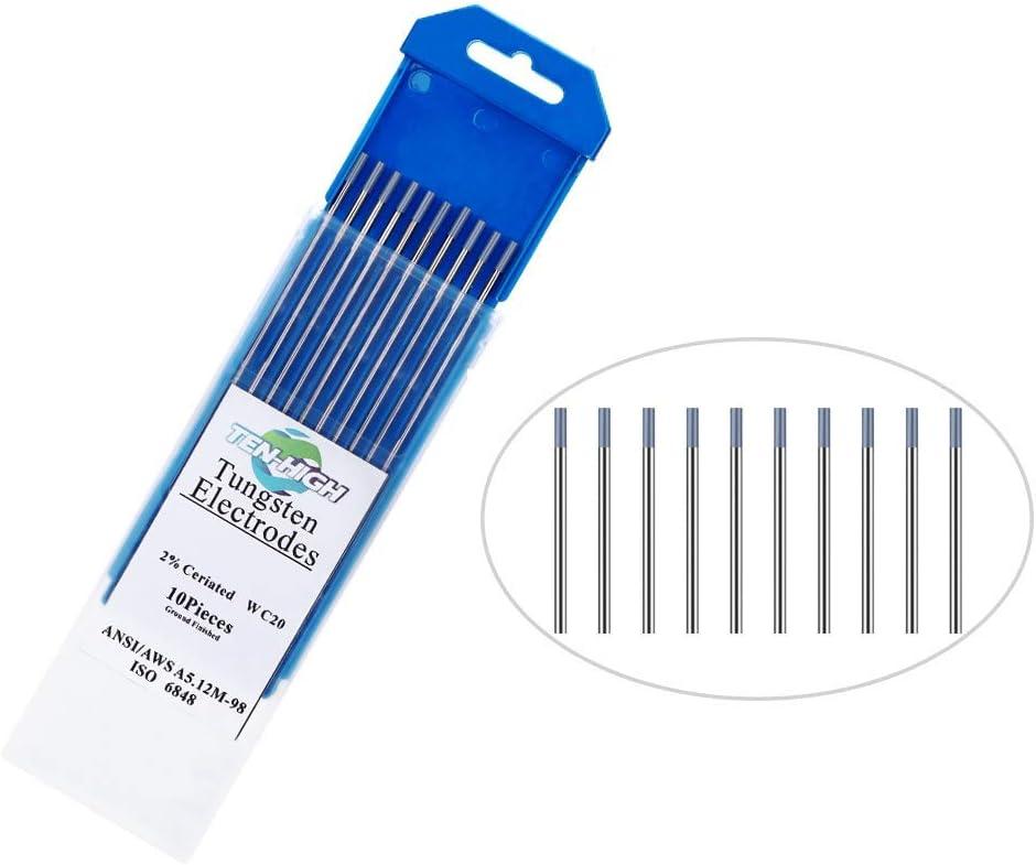 Cerium 2/% Grey Cerium Tungsten Electrode for TIG Welding TEN-HIGH TIG Tungsten Electrodes WC20 2.4mm x175mm 10pcs Pack.