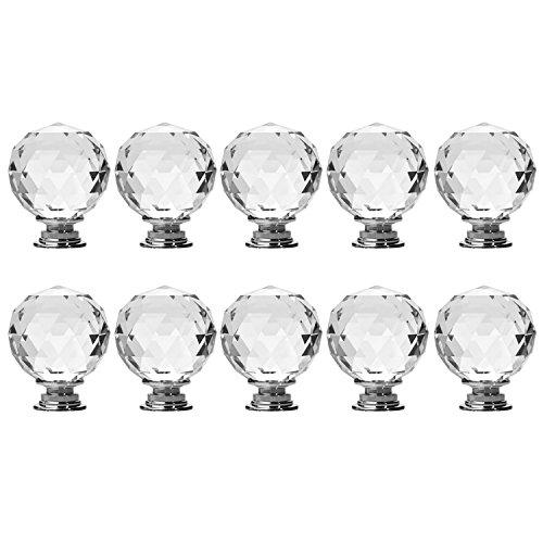 Gosear 10 PCS Redonda de Vidrio Cristal Claro de gabinete de Cocina maneja armarios Armario mobiliario de Hardware Cajón...