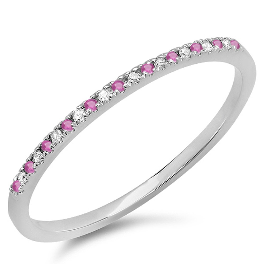 10K White Gold Round Pink Sapphire & White Diamond Ladies Dainty Anniversary Wedding Stackable Ring Dazzlingrock DR1290-1986-P