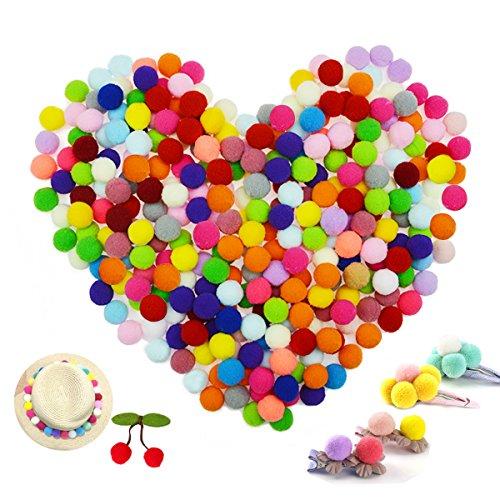 """Pom Poms,OWEV 300Pcs 2cm/0.8"""" Colored Pom Poms for Hobby Supplies and DIY Creative Crafts Decorations (L)"""