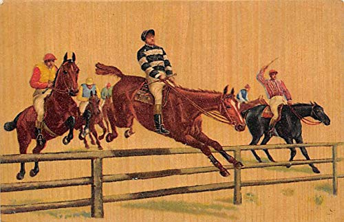 Misc Artist Signed Horse Racing Postcard writing on back