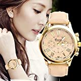 New Fashion Women's Date Roman Numerals Faux Leather Analog Quartz Wrist Watch