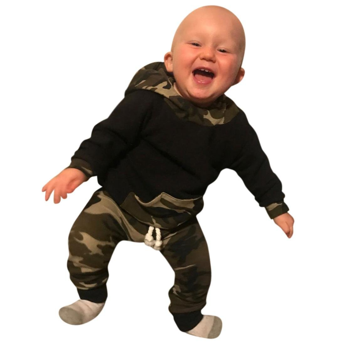 WYXlink 2pcs Toddler Baby Boy Girl Clothes Set Camouflage Hoodie Tops+Pants Outfits
