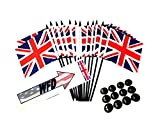 BOX of 12 United Kingdom 4''x6'' Miniature Desk & Table Flags With 12 Flag Stands, 4x6 British Small Mini Stick Flags