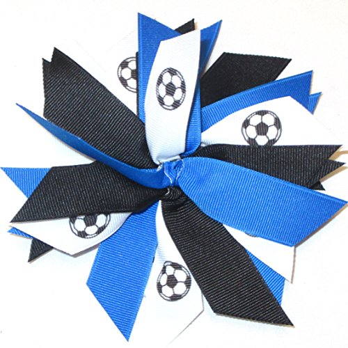Sublimation Specialties Soccer Pom Scrunchie - Made in The USA, Avail in Many Colors (Black/Royal), White Pony Band